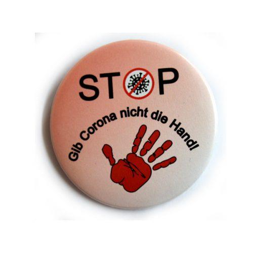 Button STOP Gib Corona nicht die Hand