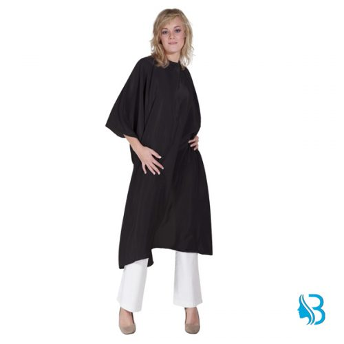 Umhang Flexi schwarz Schneideumhang aus weichem, bügelfreiem Polyestergewebe