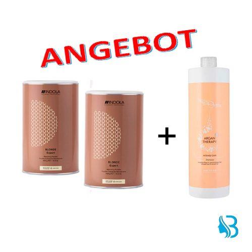 Aktion 2x Blondierpulver 450gr + 1x Argan Therapie Shampoo 1000ml GRATIS